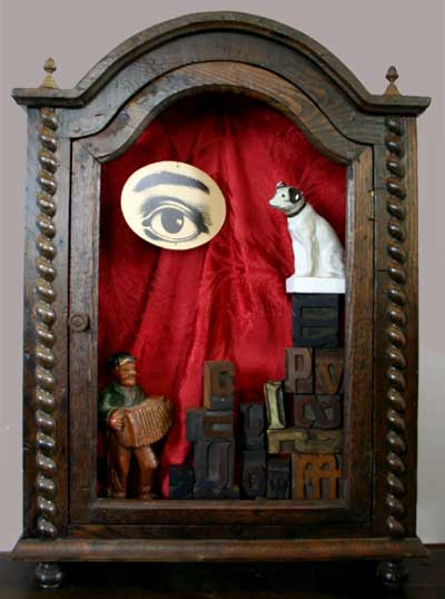 An untitled assemblage by Dennis Herbert featuring Nipper