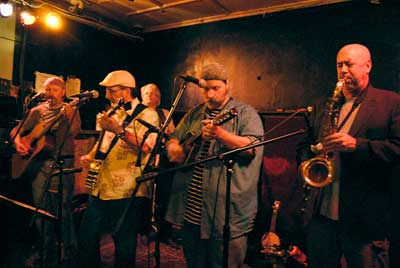 Ramblin Jug Stompers and saxman Luke McNamee get their jam on earlier this month (Photo by Timothy Cahill)