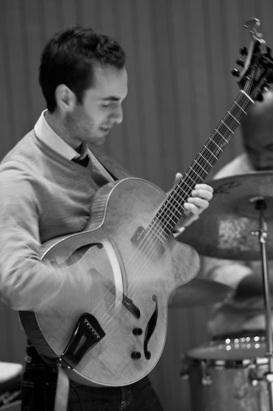 Julian Lage with Eric Harland at Skidmore College. October 16, 2008. Photo by Rudy Lu.