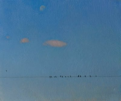 Birds on a Wire with Moonrise by Duane Keiser