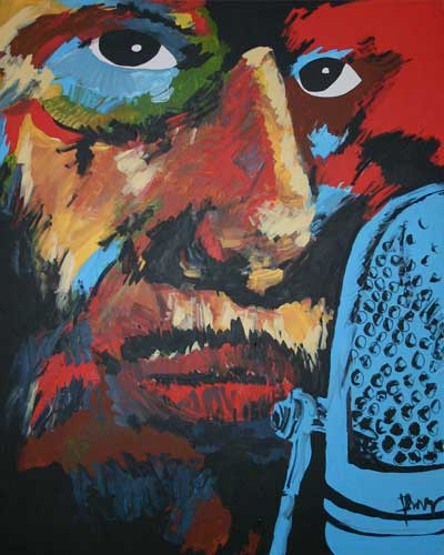 Howlin' Wolf by George Frayne (aka, Commander Cody), currently on exhibit at Alchemy in Woodstock
