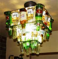 Barlite's beer bottle chandeliers.