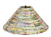 A lampshade woven out of candy wrappers.