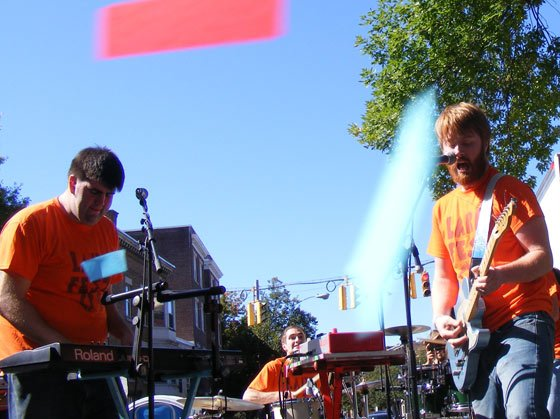 Richard Nolan Jr., Seth Tillinghast and Matt Ferguson (and some confetti) at 2009's LarkFest (photo by Matt Mac Haffie)
