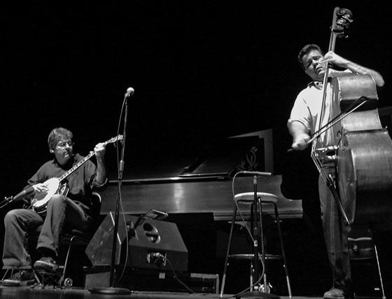 Edgar Meyer (right) with Bela Fleck