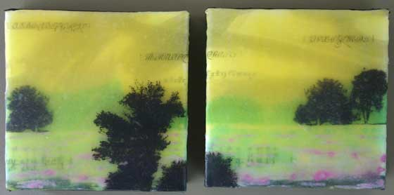 Debi Pendell: Wandering (Diptych) (acrylic collage and mixed media)