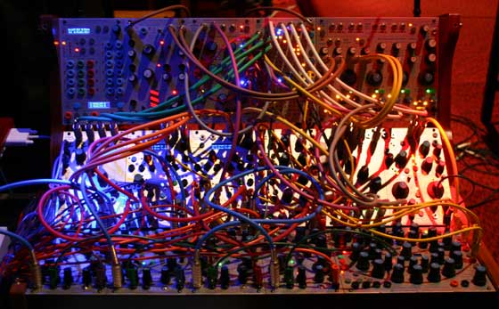 The patchcords on Richard Lainhart's Buchla 200e/Haken Continuum modular analog synth system