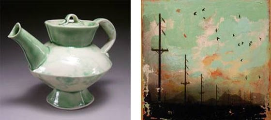 (left) a teapot by Stacey Esslinger; (right) Elizabeth Dubben: Continuation