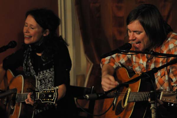 Sarah Lee Guthrie & Johnny Irion performing at Caffe Lena last January (photo by Andrzej Pilarczyk)