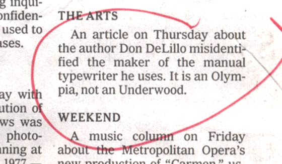 Don Delillo's Typewriter correction in the New York Times