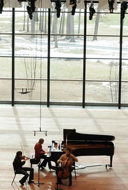 Members of Ensemble ACJW rehearse on the Zankel Center's main stage