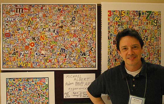 Michael Albert with some of his collages