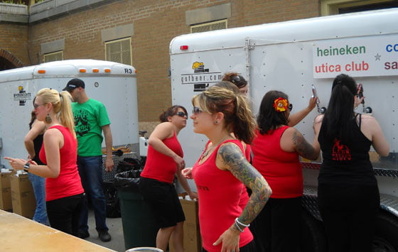 The Lark Tavern girls serving at the beer truck