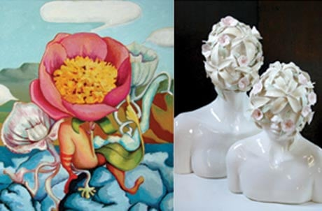 Works by Andrea Hersh (left) and Emil Alzamora @ Albany Center Gallery