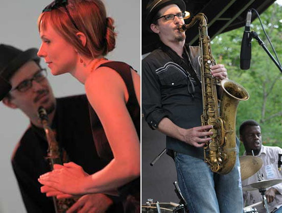 John Ellis with Kat Edmundson (left) and at the Jazz Fest in 2009