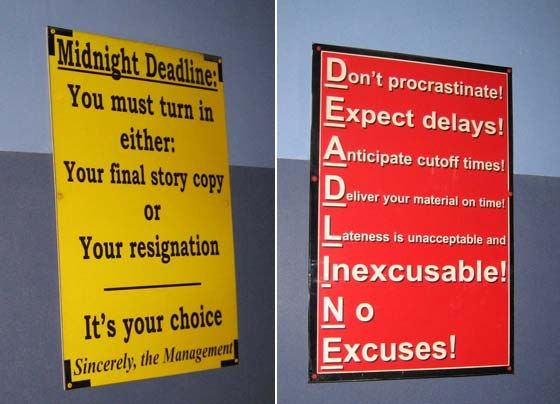 Deadline signs