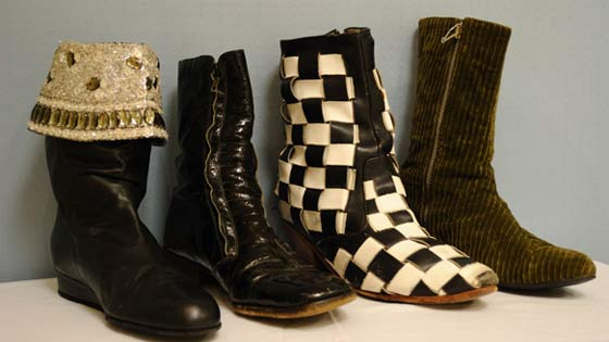 The shoes of Jermaine Jackson, Elvis Presley, Chubby Checker and John Lennon (photo by Dr. Hartley Miltchin)