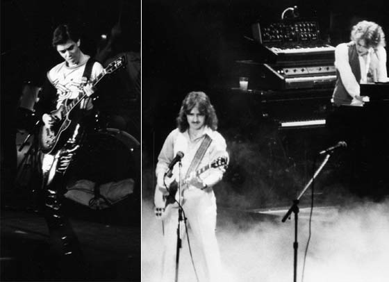 (left) Bill Nelson of Be-Bop Deluxe and (right) Buck Dharma and Allen Lanier of of Blue Oyster Cult (photos by Tom Lindsay)