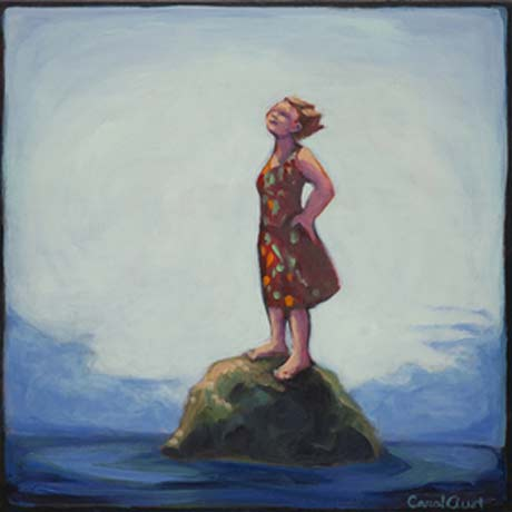 Carol Aust: Woman on Rock #2 @ Harrison Gallery