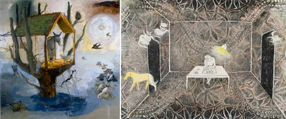 Works by Elizabeth Albert (left) and Rebecca Shepard