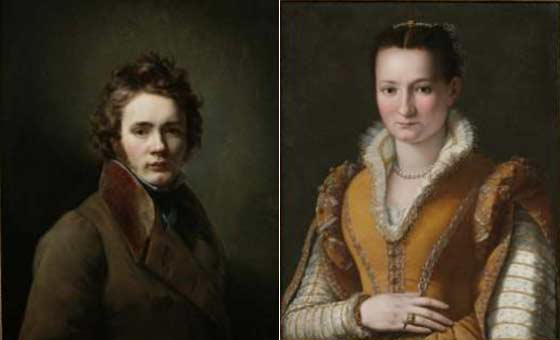 (left) Jean-Augustin Franquelin: Self-Portrait and (right) Alessandro Allori: Portrait of a Young Woman
