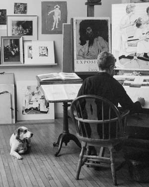 "Photo (detail) of Norman Rockwell working on ""First Trip to the Beauty Parlor"" with dog Pitter in his Stockbridge studio, 1972. (photo by Bill Scovill)"