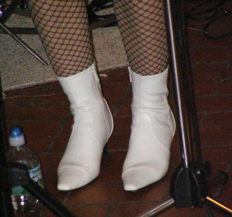 Betsy's white Cuban heels when Betsy and the ByeGons brought their 60's girl groups sound to First Night Saratoga, 12/31/10 (photo by Matt Mac Haffie)