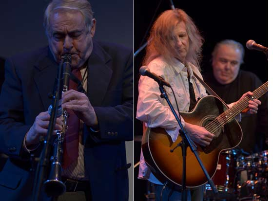 (left) Tim Coakley of Clarinet Marmalade (right) David Malachowski and Gary Burke of The Acoustic Woodstock AllStars