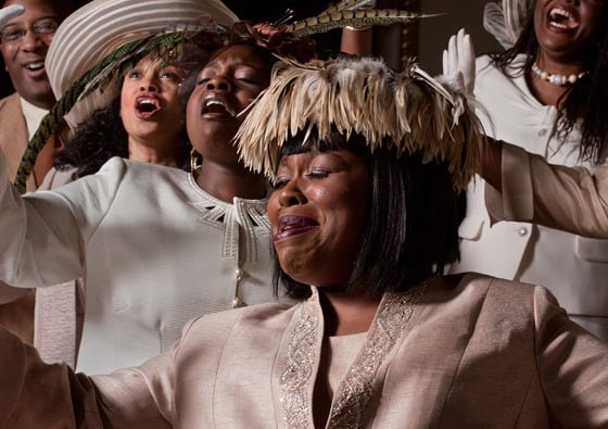 Mother Shaw (Yvette Monique Clark) sings gospel with back up from the Reverend (Nikkieli DeMone) and sisters, Jeannette (Danielle K. Thomas), Mabel (Julia Lema) and Velma (Jannie Jones)  (photo by Joe Schuyler)