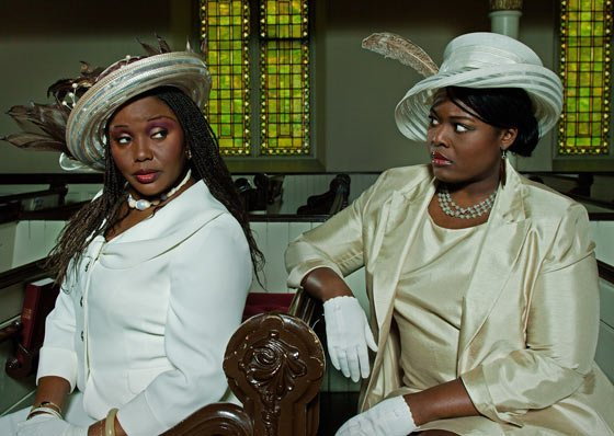 Velma (Jannie Jones) loves to wear flamboyant hats to church, much to the dismay of the proper Wanda (Amma Osei)