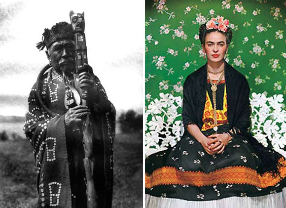 (left) Hamaska in Tluwulahu Costume with Speaker's Staff-Qagyuhl, (right) Nickolas Muray: Frida Kahlo @ Fenimore Art Museum