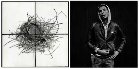(left) Christa Kreeger Bowden: Nest I and (right) Yo Imae: Untitled @ Center For Photography at Woodstock