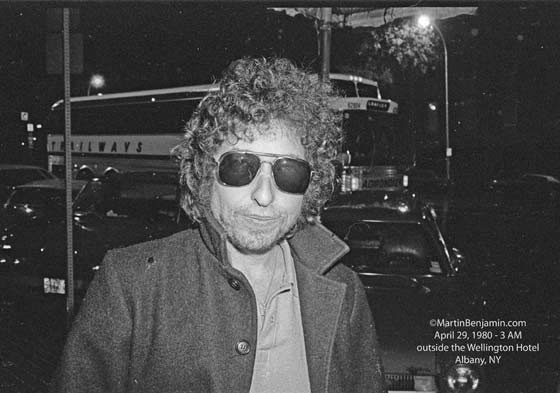 Bob Dylan outside the Wellington Hotel, Albany, NY, 3am, 4/29/1980