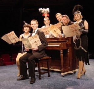 "From left: Andrea Dotto, Carl Hulden, Kelly L. Shook, Tim Quartier, John Saunders, and Karla Shook in the Mac-Haydn production of Irving Berlin's ""I Love a Piano."""