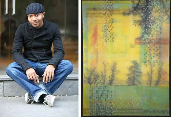Left: DJ Spooky performs and exhibits works @ Legacy Gallery; (right) Works by Debi Pendell @ NAACO Gallery