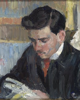 Camille Pissarro: Ludovic-Rodolphe Pissarro Reading (detail) @ The Clark Art Institute