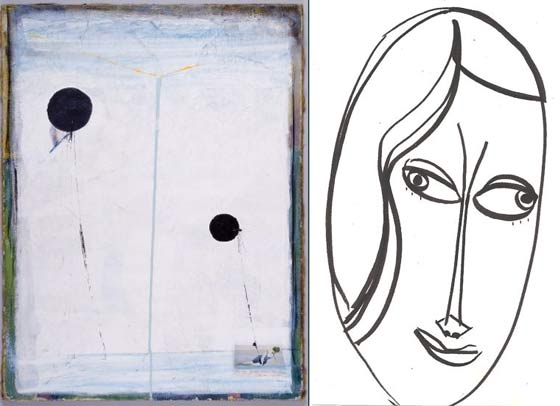 "Works by Nadia Trinkala: (left) ""As It Is Above It Is So Below"" and a self portrait"
