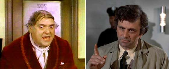 "Zero Mostel in ""The Producers"" and Peter Falk as Columbo"