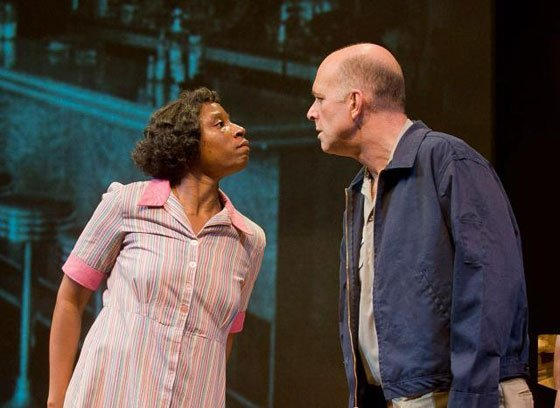 "Aisha Hinds as Ann Atwater and John Bedford Lloyd as C.P. Ellis face off earlier and often in Mark St. Germain's ""The Best of Enemies."" (photo: Kevin Sprague)"