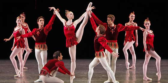 "The NYC Ballet performing ""Rubies"" from George Balanchine's Jewels (photo by Paul Kolnik)"