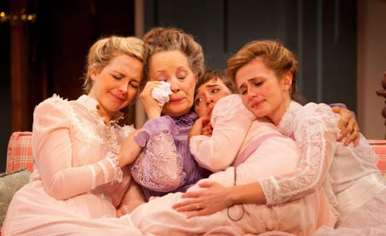 A sob session with (l to r) Clea Alsip, Lizbeth Mackay, Jeanna Phillips, Megan Ketch in a scene from One Slight Hitch at Williamstown Theatre Festival (photo: T. Charles Erickson)
