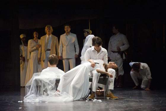 "The cast of ""Romeo and Juliet"" at the play's final moment, with Paris (Wolfe Coleman), Romeo (David Gelles), and Juliet (Susannah Millonzi) dead in the foreground (photo: Kevin Sprague)"