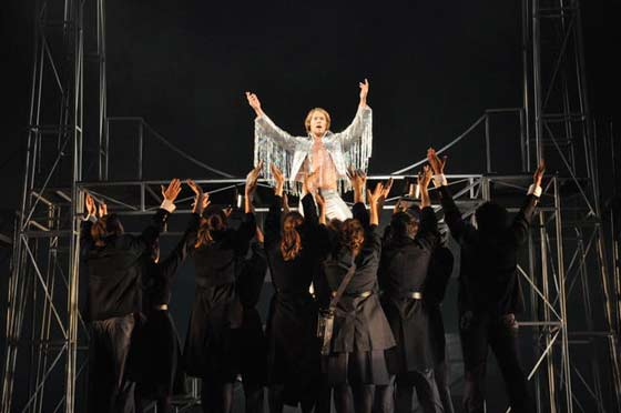 Tommy (Randy Harrison, top center) is a sensation in the BTF production at the Colonial Theatre. (photo: Jaime Davidson)