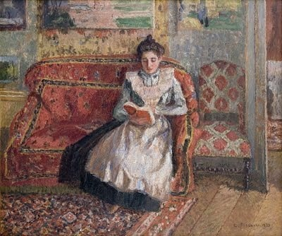 Jeanne Pissarro, called Cocotte, Reading 1899 - Oil on canvas 22 x 26 3/8 in.