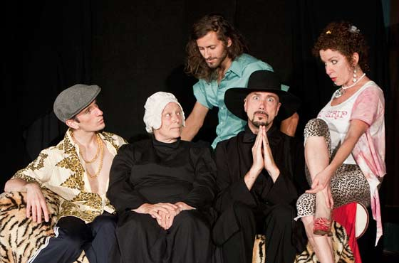 "The cast of the New Stage production of ""The Book of Liz"" in some of their various characters: L to R - Alex Reczkowski, Diane Prusha, Robert Allen, Ken DeLoreto and Karen Lee (photo: Ned Oliver)"