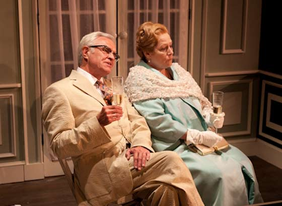 "Franklin Ide (James Goodwin Rice) and Mrs. Lidcote (Diane Prusha) ponder what awaits them in America as they cross the Atlantic on the Queen Mary at the start of ""Autres Temps..."" (photo: David Dashiell)"
