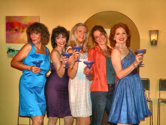 Rebecca (Rachel Weisman), Carol (Constance Lopez), Katrina (Cathy Lee-Visscher), Danny (Diedre Bollinger) and Melody (Meg Dooley) raise a glass to their careers as reality TV stars