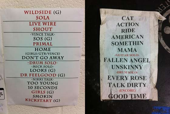 Set lists for Poison and Motley Crue (photos by Kirsten Ferguson)
