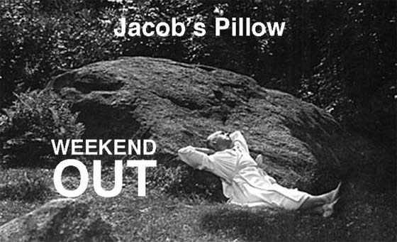 "An early photo of founder Ted Shawn resting on the famous ""Pillow"""