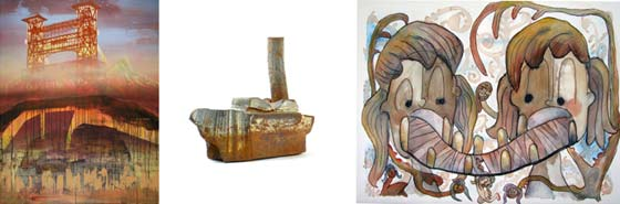 Works by (from left) Tyson Skross, Warren Holzman and Jennifer Nuttall Ash @ Saratoga Arts